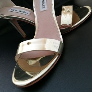 Gold Heels With Ankle Strap